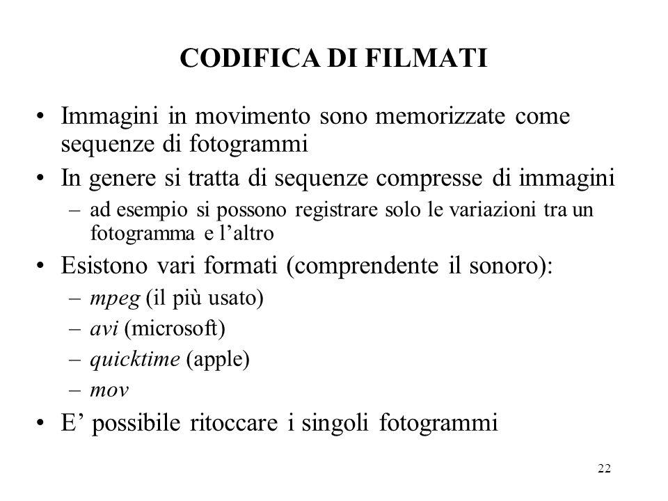 22 CODIFICA DI FILMATI Immagini in movimento sono memorizzate come sequenze di fotogrammi In genere si tratta di sequenze compresse di immagini –ad es
