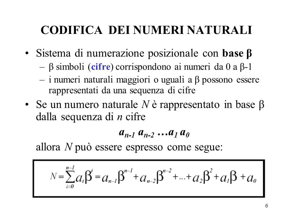 6 CODIFICA DEI NUMERI NATURALI Sistema di numerazione posizionale con base β –β simboli (cifre) corrispondono ai numeri da 0 a β-1 –i numeri naturali