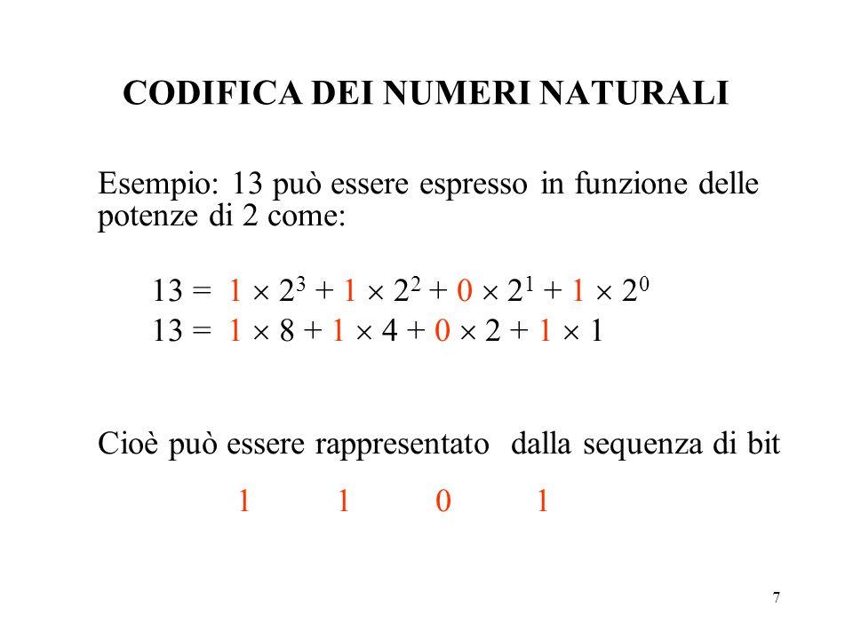 7 CODIFICA DEI NUMERI NATURALI Esempio: 13 può essere espresso in funzione delle potenze di 2 come: 13 = 1 2 3 + 1 2 2 + 0 2 1 + 1 2 0 13 = 1 8 + 1 4