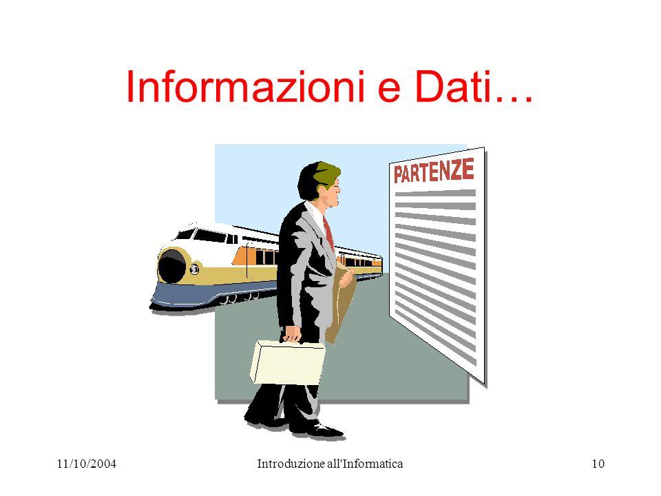 11/10/2004Introduzione all Informatica10 Informazioni e Dati…