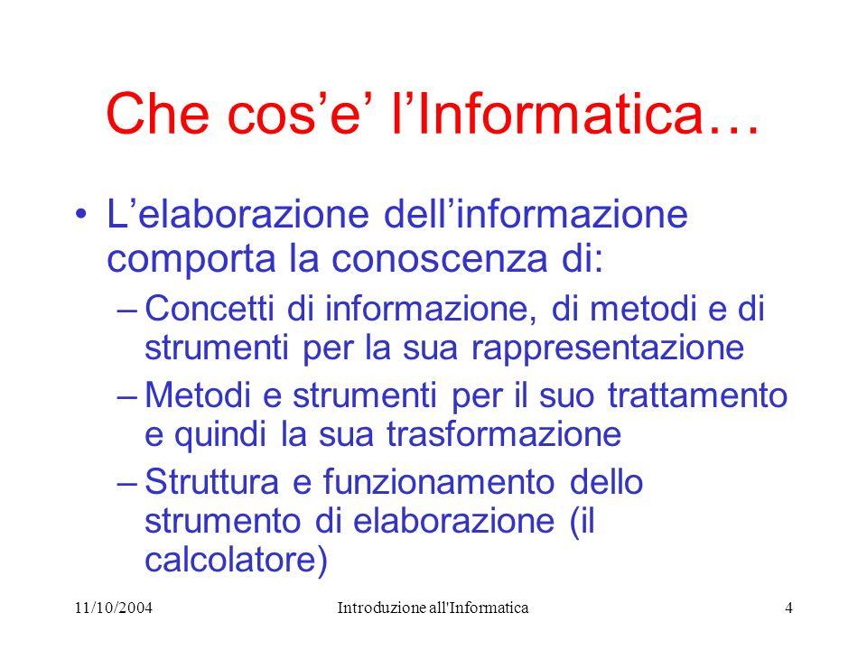 11/10/2004Introduzione all'Informatica4 Che cose lInformatica… Lelaborazione dellinformazione comporta la conoscenza di: –Concetti di informazione, di
