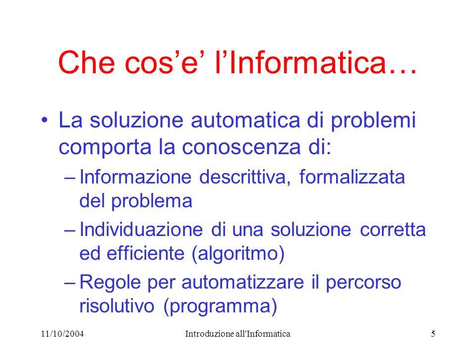 11/10/2004Introduzione all'Informatica5 Che cose lInformatica… La soluzione automatica di problemi comporta la conoscenza di: –Informazione descrittiv
