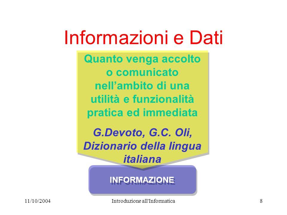 11/10/2004Introduzione all'Informatica8 INFORMAZIONE Quanto venga accolto o comunicato nellambito di una utilità e funzionalità pratica ed immediata G
