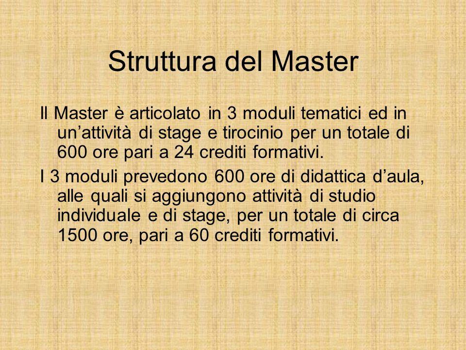 Struttura del Master Il Master è articolato in 3 moduli tematici ed in unattività di stage e tirocinio per un totale di 600 ore pari a 24 crediti form