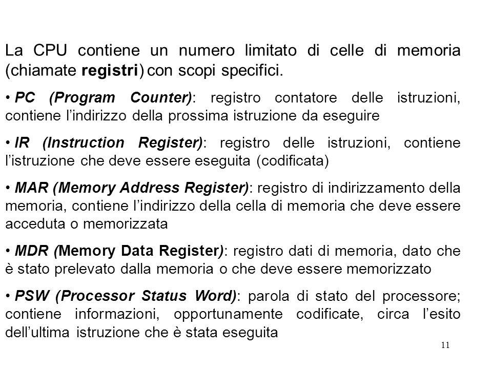11 La CPU contiene un numero limitato di celle di memoria (chiamate registri) con scopi specifici. PC (Program Counter): registro contatore delle istr