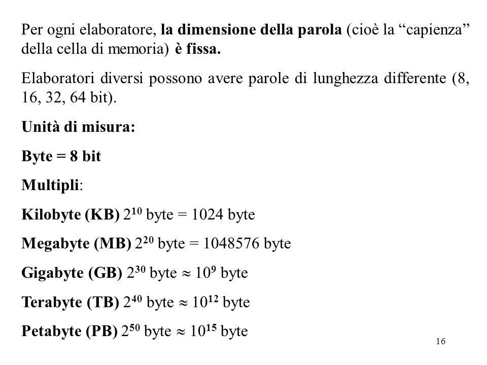 16 Per ogni elaboratore, la dimensione della parola (cioè la capienza della cella di memoria) è fissa. Elaboratori diversi possono avere parole di lun