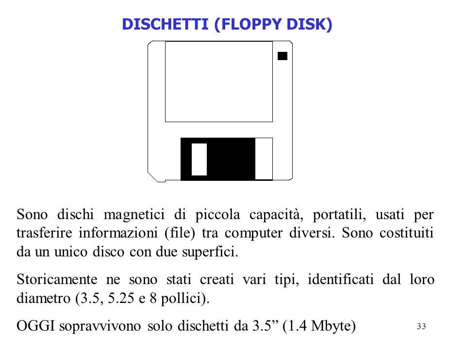 33 DISCHETTI (FLOPPY DISK) Sono dischi magnetici di piccola capacità, portatili, usati per trasferire informazioni (file) tra computer diversi. Sono c
