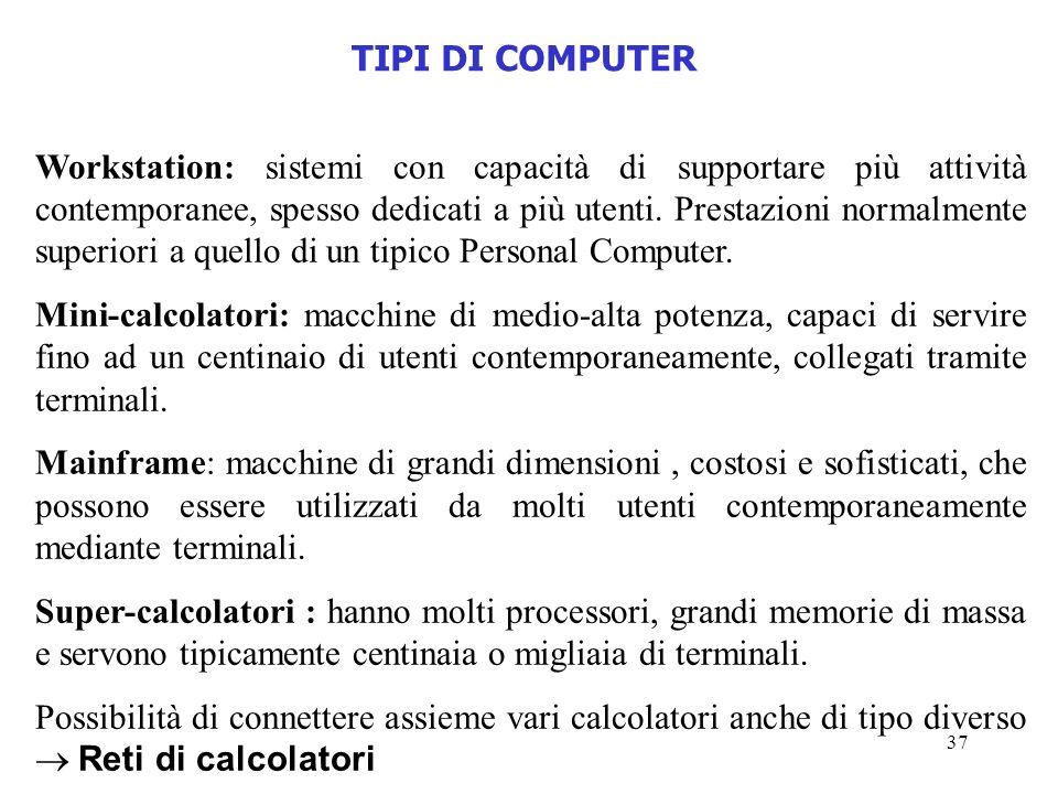 37 Workstation: sistemi con capacità di supportare più attività contemporanee, spesso dedicati a più utenti. Prestazioni normalmente superiori a quell