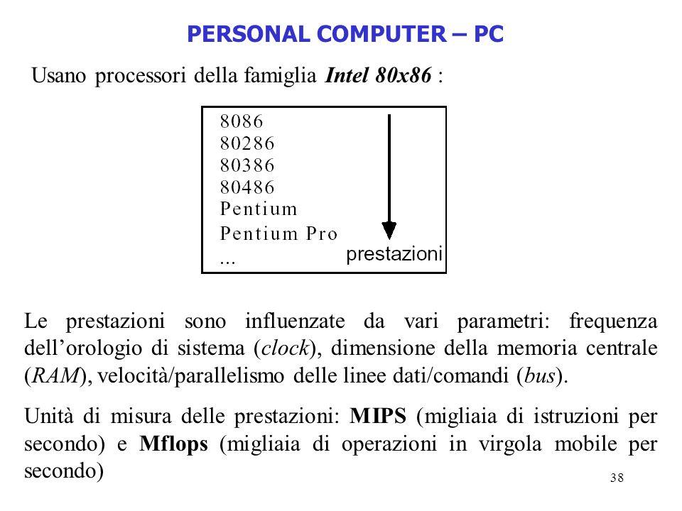 38 PERSONAL COMPUTER – PC Usano processori della famiglia Intel 80x86 : Le prestazioni sono influenzate da vari parametri: frequenza dellorologio di s