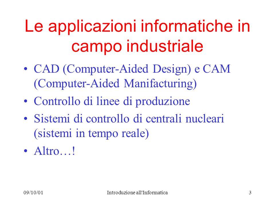 09/10/01Introduzione all'Informatica3 Le applicazioni informatiche in campo industriale CAD (Computer-Aided Design) e CAM (Computer-Aided Manifacturin