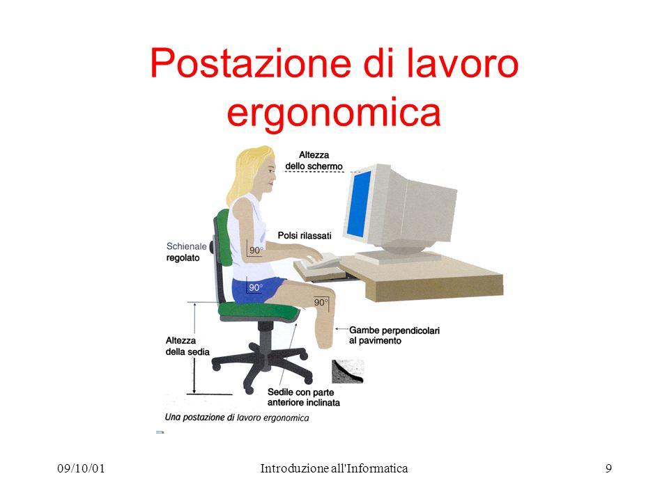 09/10/01Introduzione all'Informatica9 Postazione di lavoro ergonomica