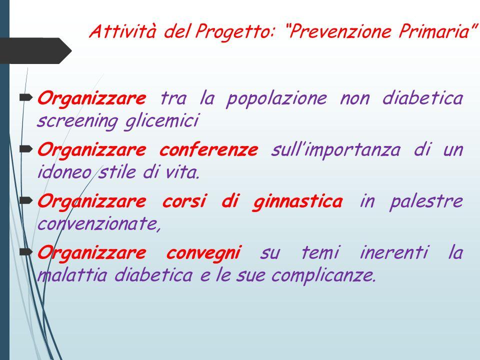 Attività del Progetto: Prevenzione Primaria Organizzare tra la popolazione non diabetica screening glicemici Organizzare conferenze sullimportanza di un idoneo stile di vita.
