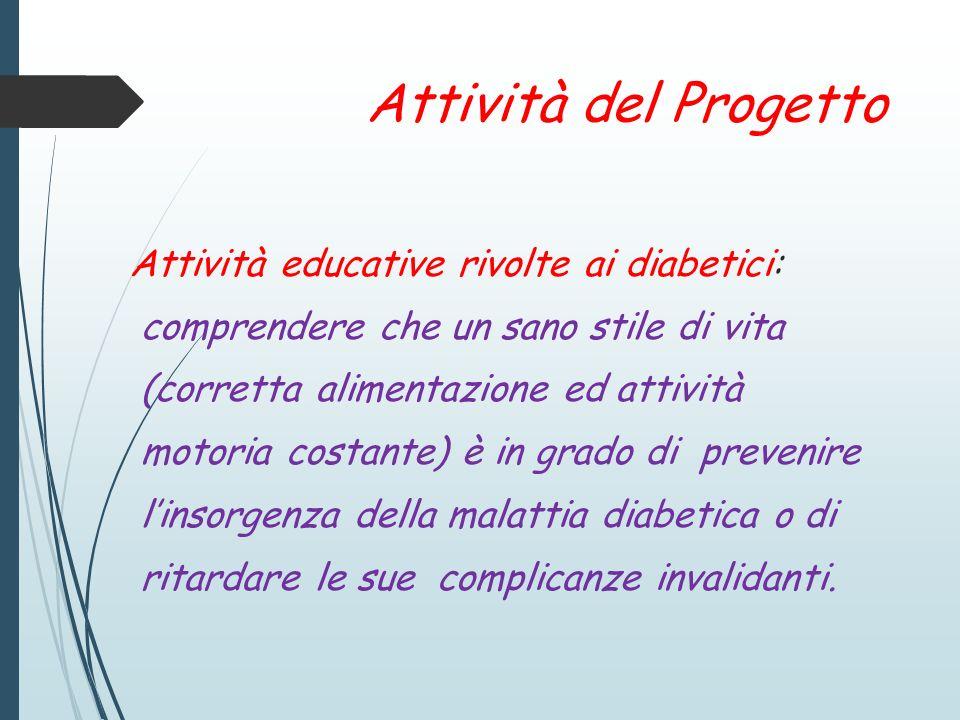 Attività del Progetto Aiutare i soggetti diabetici a saper gestire giornalmente la malattia.