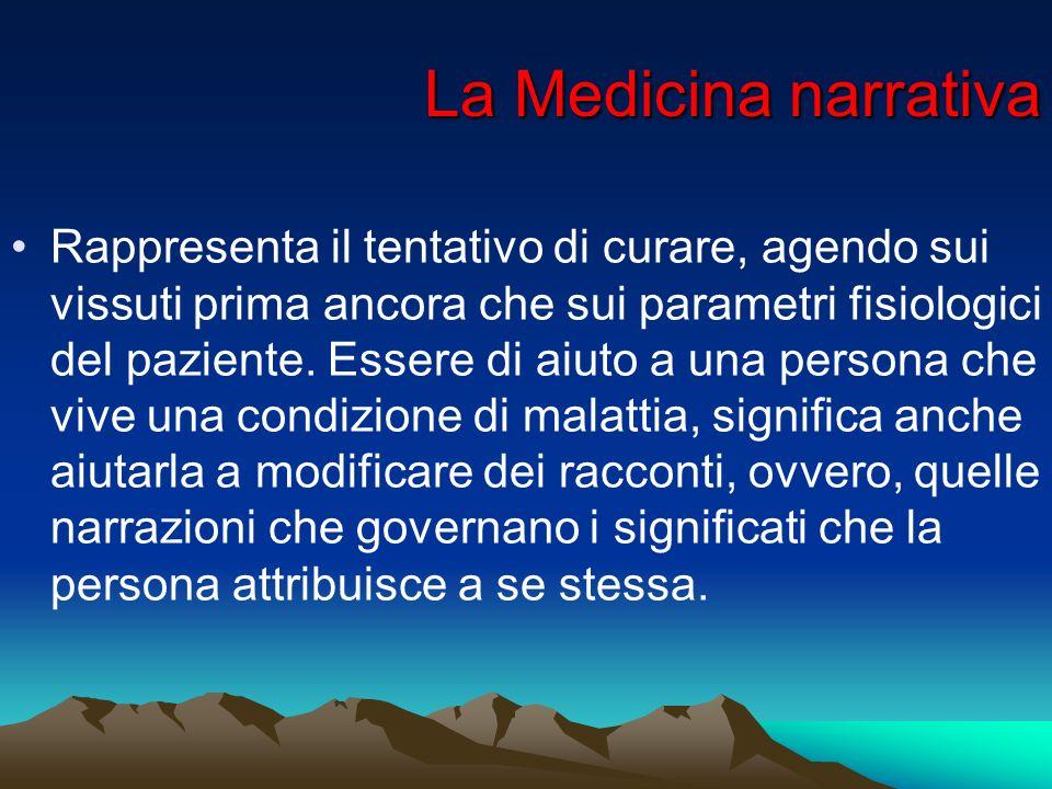 La Medicina narrativa Rappresenta il tentativo di curare, agendo sui vissuti prima ancora che sui parametri fisiologici del paziente. Essere di aiuto