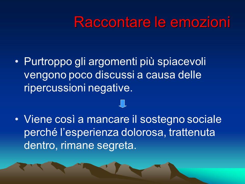 Raccontare le emozioni Purtroppo gli argomenti più spiacevoli vengono poco discussi a causa delle ripercussioni negative. Viene così a mancare il sost