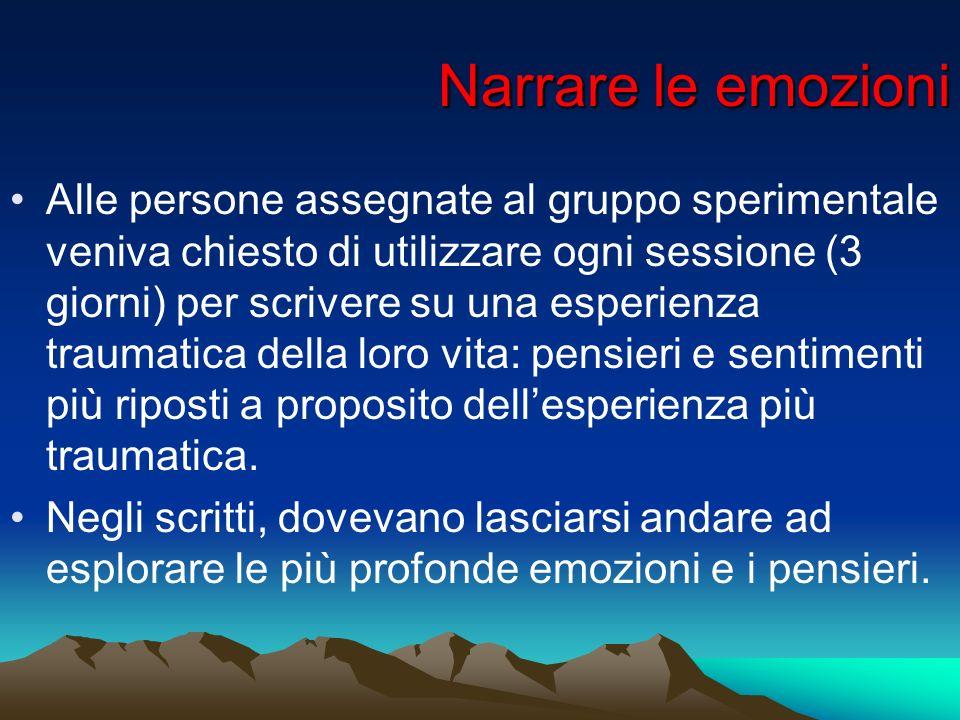 Narrare le emozioni Alle persone assegnate al gruppo sperimentale veniva chiesto di utilizzare ogni sessione (3 giorni) per scrivere su una esperienza
