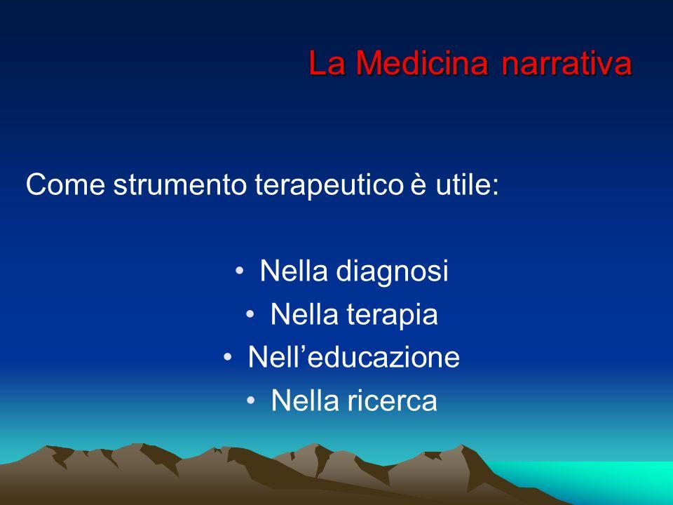 La Medicina narrativa Come strumento terapeutico è utile: Nella diagnosi Nella terapia Nelleducazione Nella ricerca