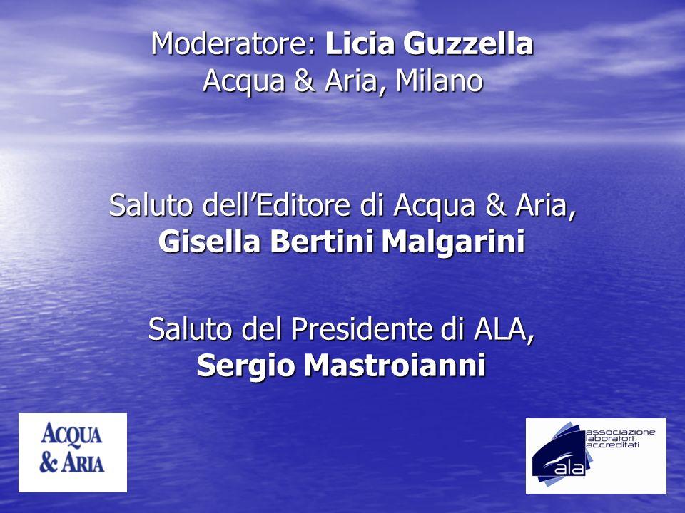 Moderatore: Licia Guzzella Acqua & Aria, Milano Saluto dellEditore di Acqua & Aria, Gisella Bertini Malgarini Saluto del Presidente di ALA, Sergio Mas