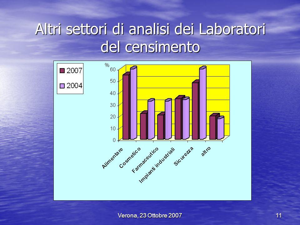 Verona, 23 Ottobre 200711 Altri settori di analisi dei Laboratori del censimento