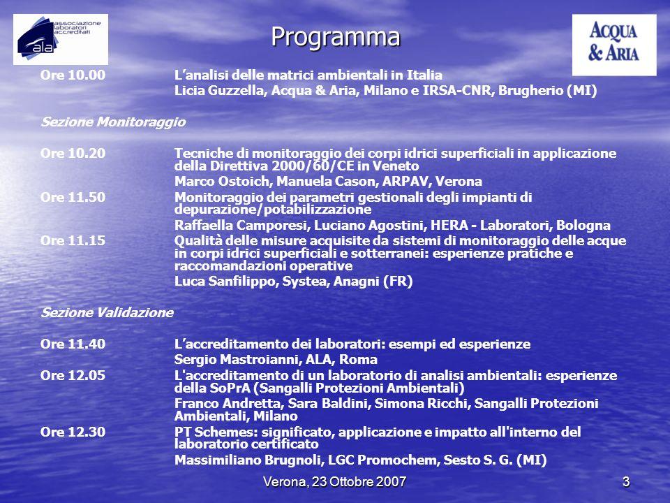 Verona, 23 Ottobre 20073 Programma Ore 10.00 Lanalisi delle matrici ambientali in Italia Licia Guzzella, Acqua & Aria, Milano e IRSA-CNR, Brugherio (M
