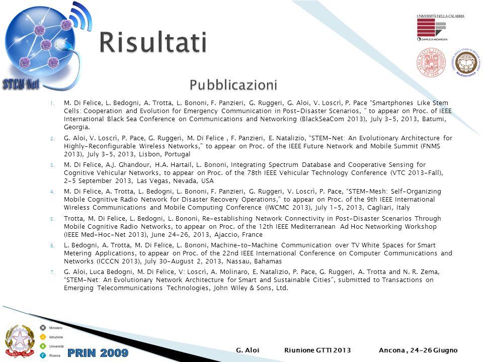 1. M. Di Felice, L. Bedogni, A. Trotta, L. Bononi, F. Panzieri, G. Ruggeri, G. Aloi, V. Loscrì, P. Pace Smartphones Like Stem Cells: Cooperation and E