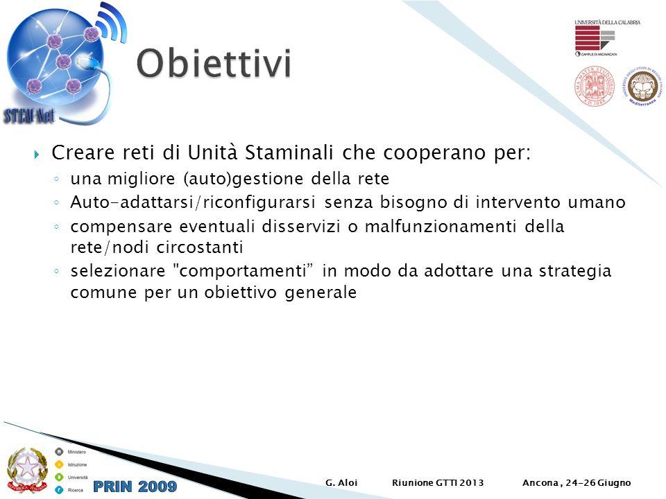 Creare reti di Unità Staminali che cooperano per: una migliore (auto)gestione della rete Auto-adattarsi/riconfigurarsi senza bisogno di intervento uma