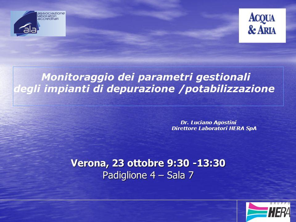Verona, 23 ottobre 9:30 -13:30 Padiglione 4 – Sala 7 Monitoraggio dei parametri gestionali degli impianti di depurazione /potabilizzazione Dr.