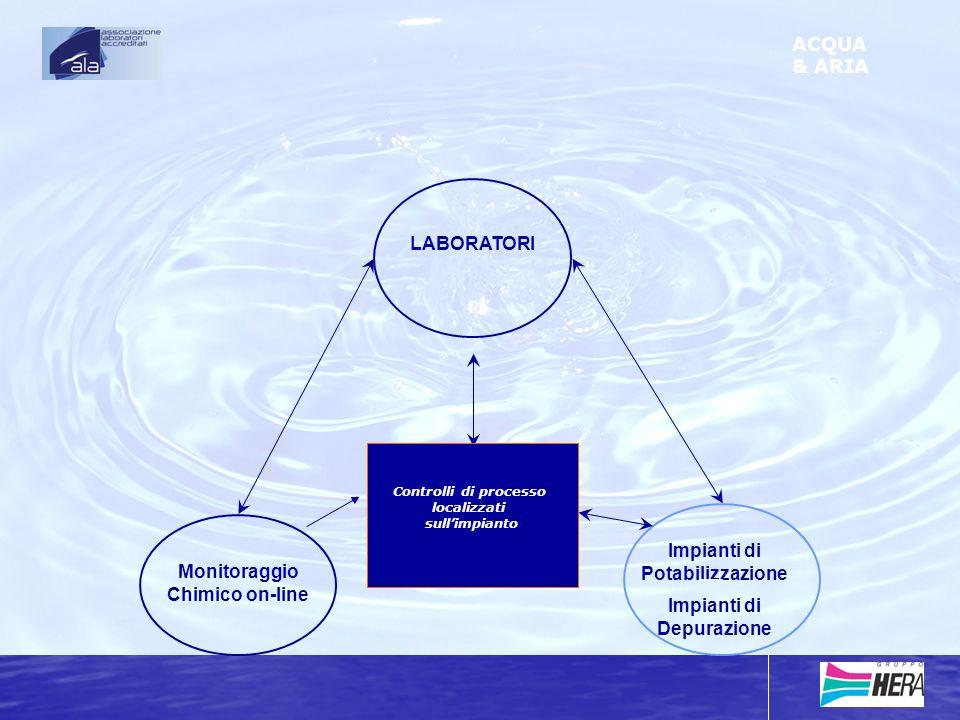 Impianti di Potabilizzazione Impianti di Depurazione Monitoraggio Chimico on-line LABORATORI ACQUA & ARIA Controlli di processo localizzati sullimpianto