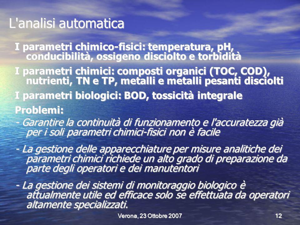 Verona, 23 Ottobre 200712 L analisi automatica I parametri chimico-fisici: temperatura, pH, conducibilità, ossigeno disciolto e torbidità I parametri chimici: composti organici (TOC, COD), nutrienti, TN e TP, metalli e metalli pesanti disciolti I parametri biologici: BOD, tossicità integrale Problemi: - Garantire la continuità di funzionamento e l accuratezza già per i soli parametri chimici-fisici non è facile - La gestione delle apparecchiature per misure analitiche dei parametri chimici richiede un alto grado di preparazione da parte degli operatori e dei manutentori - La gestione dei sistemi di monitoraggio biologico è attualmente utile ed efficace solo se effettuata da operatori altamente specializzati.
