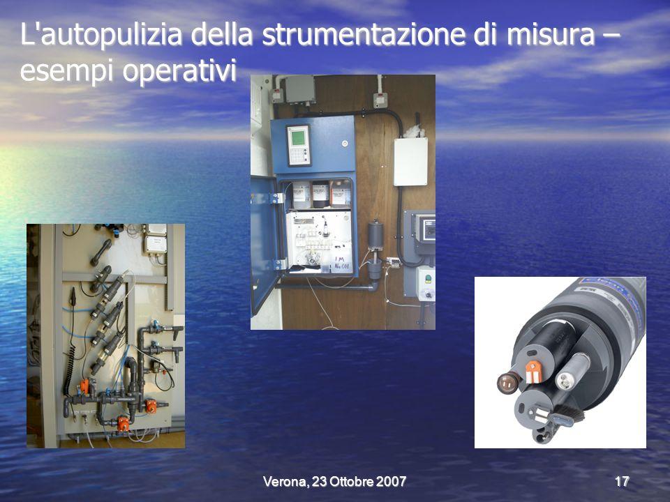 Verona, 23 Ottobre 200717 L autopulizia della strumentazione di misura – esempi operativi