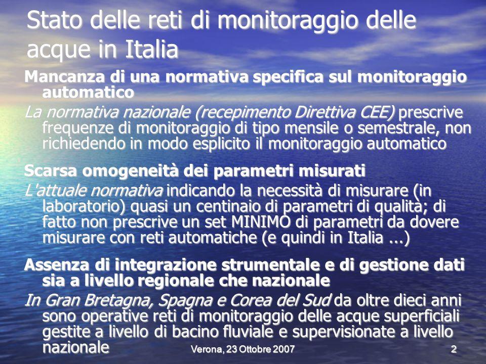 Verona, 23 Ottobre 20072 Stato delle reti di monitoraggio delle acque in Italia Mancanza di una normativa specifica sul monitoraggio automatico La normativa nazionale (recepimento Direttiva CEE) prescrive frequenze di monitoraggio di tipo mensile o semestrale, non richiedendo in modo esplicito il monitoraggio automatico Scarsa omogeneità dei parametri misurati L attuale normativa indicando la necessità di misurare (in laboratorio) quasi un centinaio di parametri di qualità; di fatto non prescrive un set MINIMO di parametri da dovere misurare con reti automatiche (e quindi in Italia...) Assenza di integrazione strumentale e di gestione dati sia a livello regionale che nazionale In Gran Bretagna, Spagna e Corea del Sud da oltre dieci anni sono operative reti di monitoraggio delle acque superficiali gestite a livello di bacino fluviale e supervisionate a livello nazionale