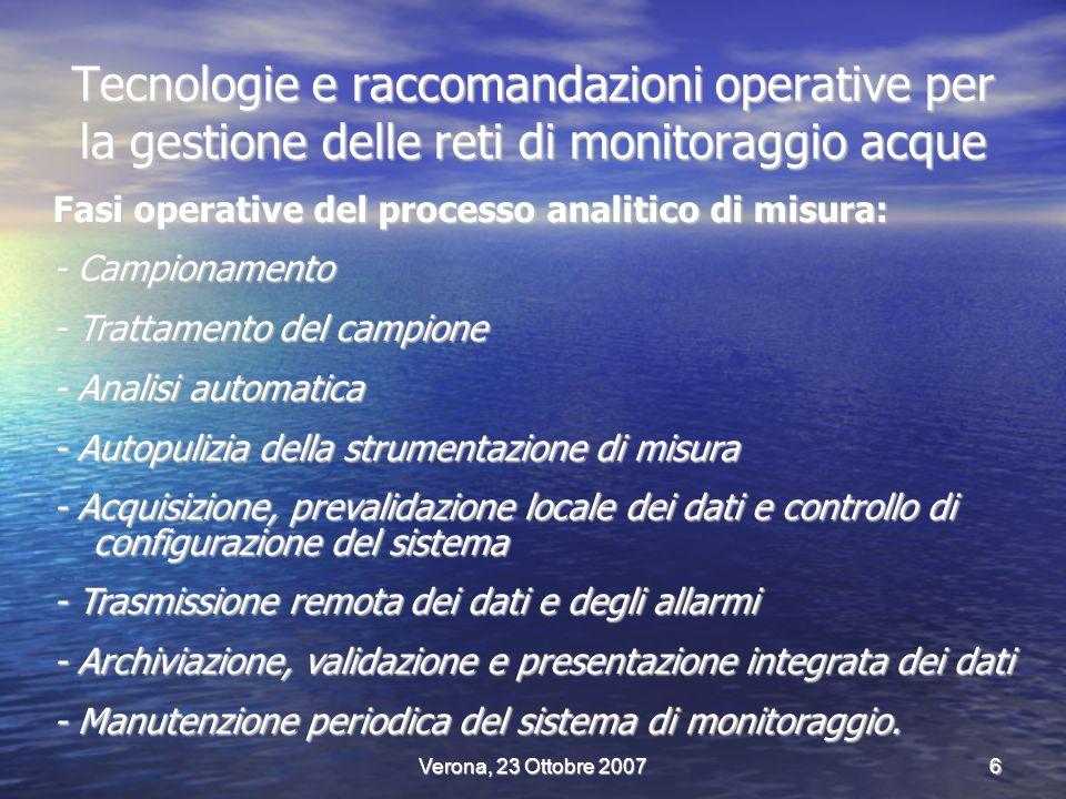 Verona, 23 Ottobre 20077 Fasi operative del processo analitico di misura automatica Metals River water Water Level Automatic Sample Unit Turbidity - pH, Red-ox - Temp.