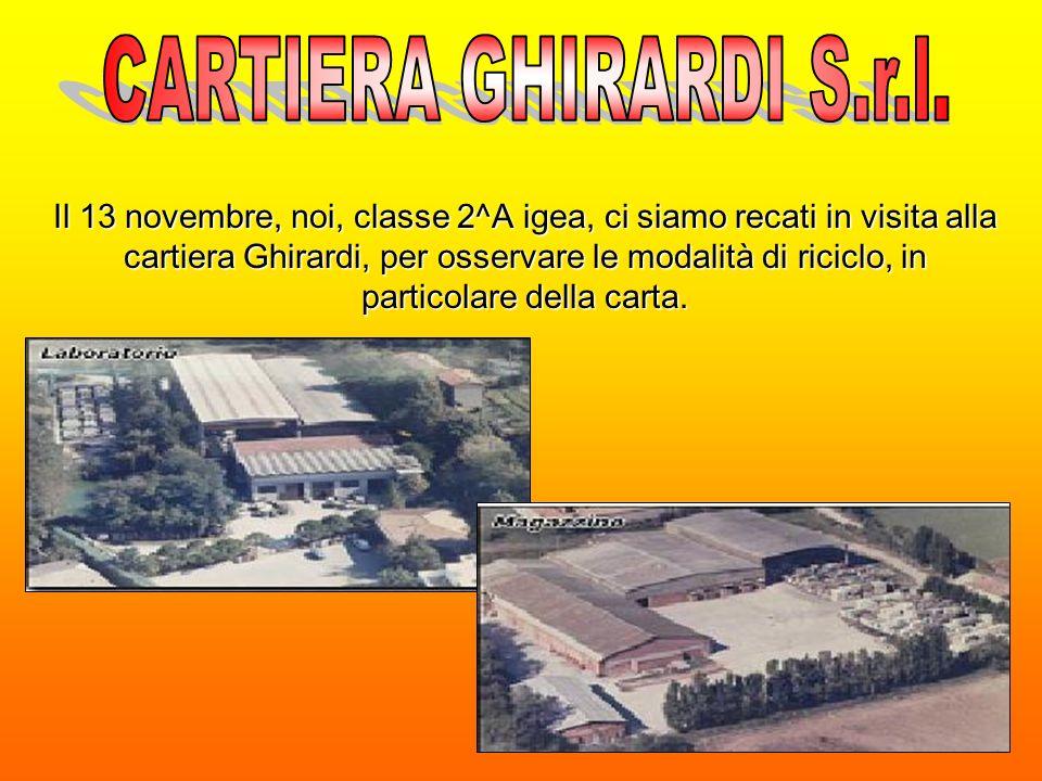 Il 13 novembre, noi, classe 2^A igea, ci siamo recati in visita alla cartiera Ghirardi, per osservare le modalità di riciclo, in particolare della carta.