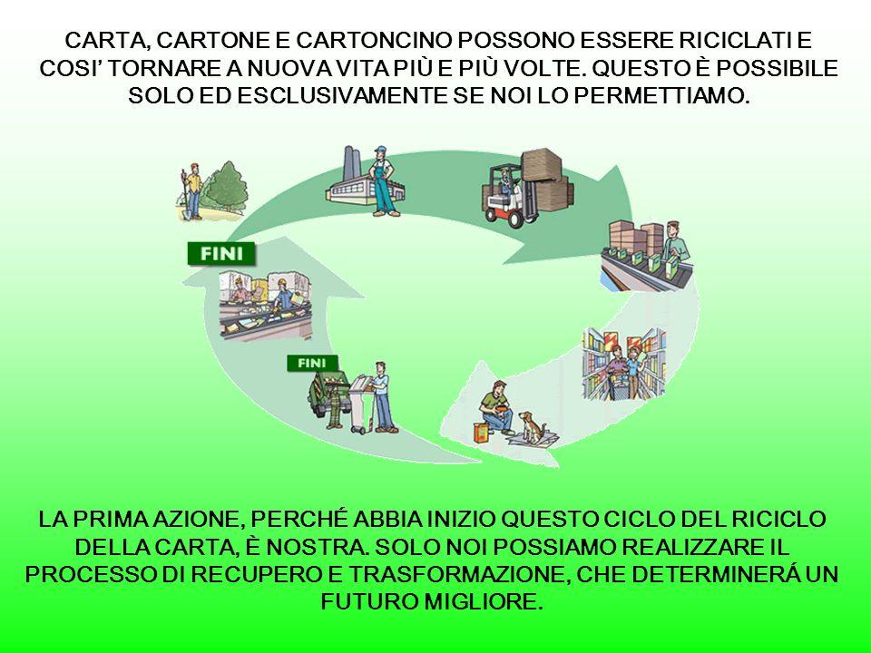 CARTA, CARTONE E CARTONCINO POSSONO ESSERE RICICLATI E COSI TORNARE A NUOVA VITA PIÙ E PIÙ VOLTE.