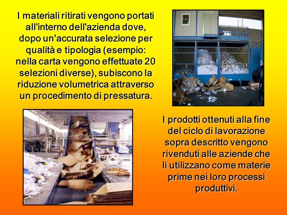 I prodotti ottenuti alla fine del ciclo di lavorazione sopra descritto vengono rivenduti alle aziende che li utilizzano come materie prime nei loro processi produttivi.
