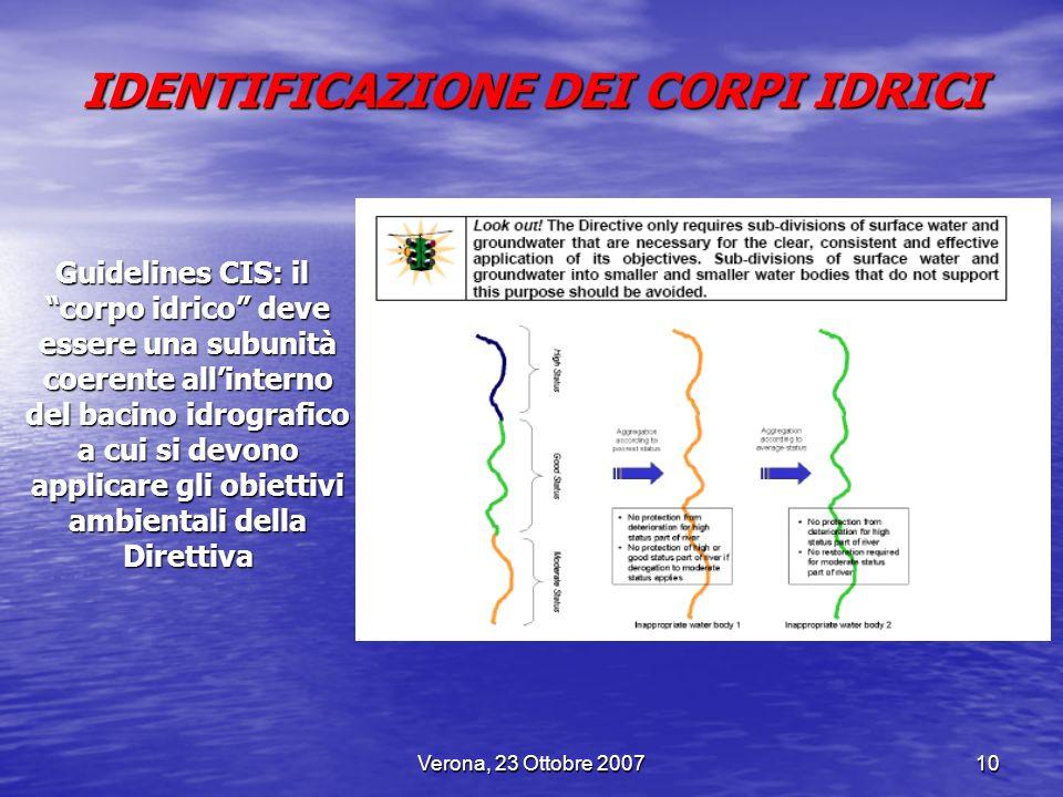 Verona, 23 Ottobre 200710 IDENTIFICAZIONE DEI CORPI IDRICI Guidelines CIS: il corpo idrico deve essere una subunità coerente allinterno del bacino idr