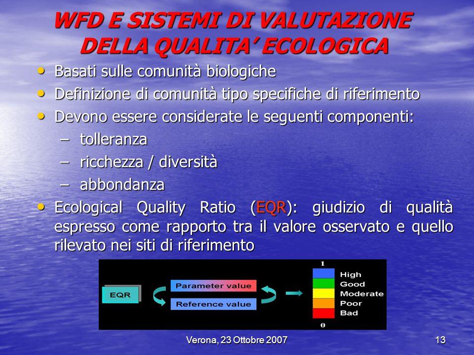 Verona, 23 Ottobre 200713 Basati sulle comunità biologiche Basati sulle comunità biologiche Definizione di comunità tipo specifiche di riferimento Def