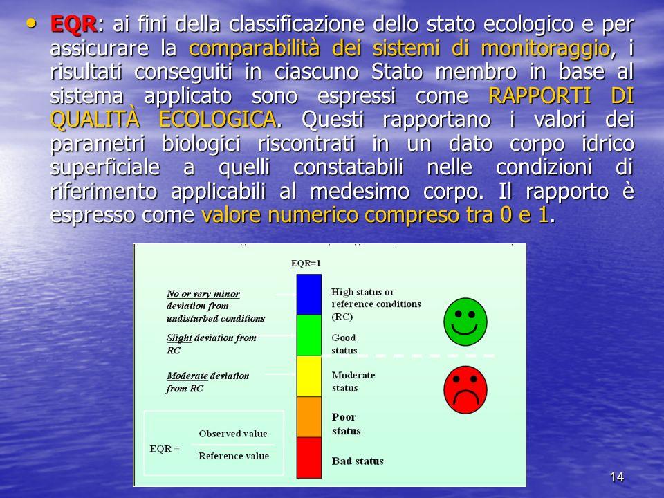 Verona, 23 Ottobre 200714 EQR: ai fini della classificazione dello stato ecologico e per assicurare la comparabilità dei sistemi di monitoraggio, i ri