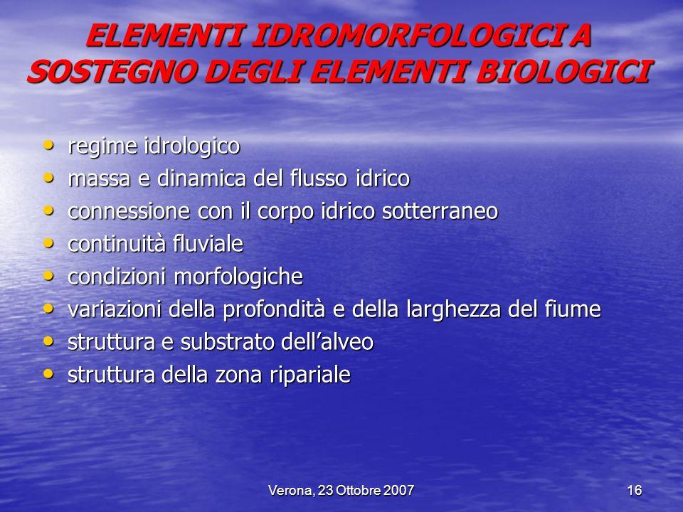 Verona, 23 Ottobre 200716 regime idrologico regime idrologico massa e dinamica del flusso idrico massa e dinamica del flusso idrico connessione con il