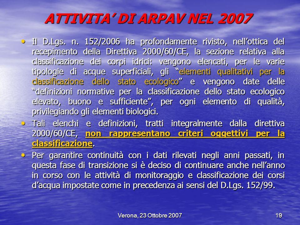 Verona, 23 Ottobre 200719 Il D.Lgs. n. 152/2006 ha profondamente rivisto, nellottica del recepimento della Direttiva 2000/60/CE, la sezione relativa a