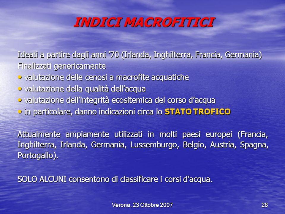 Verona, 23 Ottobre 200728 INDICI MACROFITICI Ideati a partire dagli anni 70 (Irlanda, Inghilterra, Francia, Germania) Finalizzati genericamente valuta