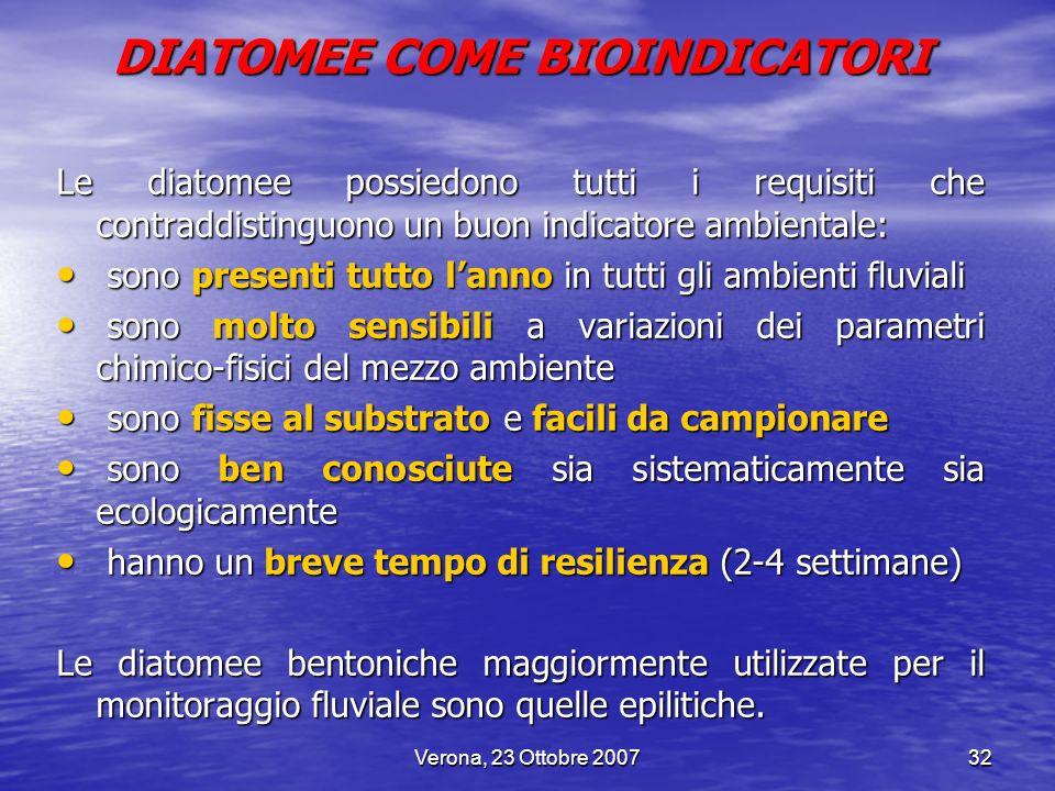 Verona, 23 Ottobre 200732 DIATOMEE COME BIOINDICATORI Le diatomee possiedono tutti i requisiti che contraddistinguono un buon indicatore ambientale: s