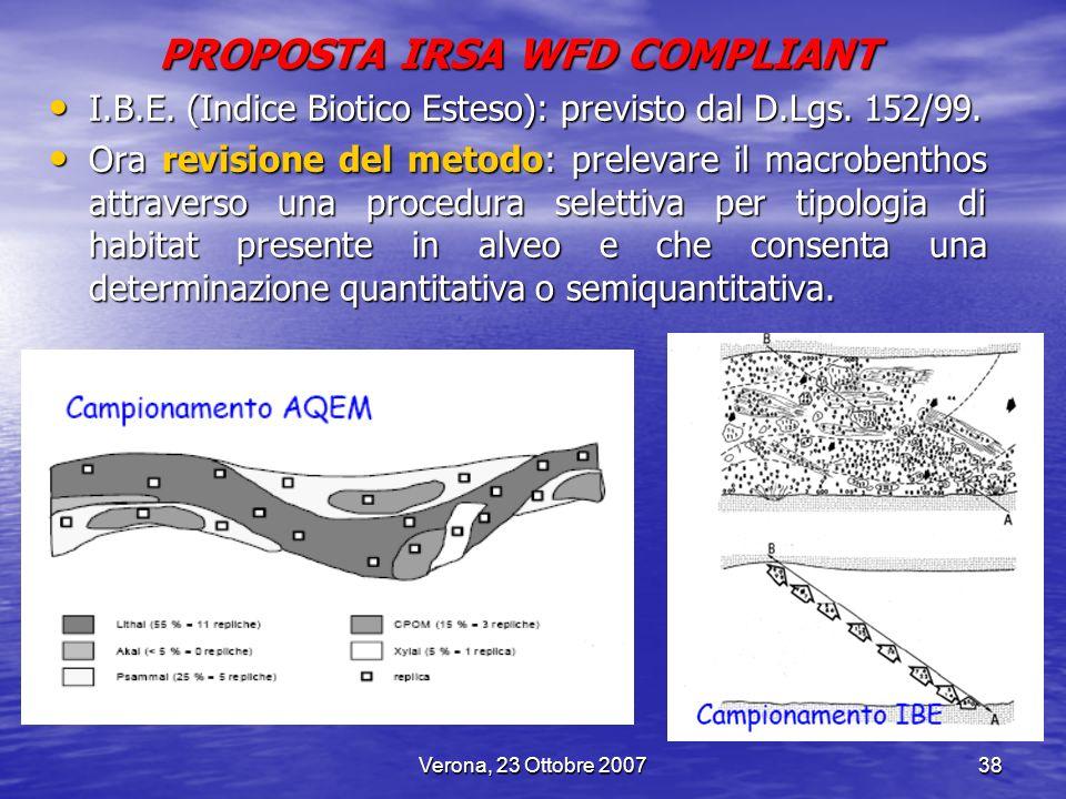 Verona, 23 Ottobre 200738 PROPOSTA IRSA WFD COMPLIANT I.B.E. (Indice Biotico Esteso): previsto dal D.Lgs. 152/99. I.B.E. (Indice Biotico Esteso): prev