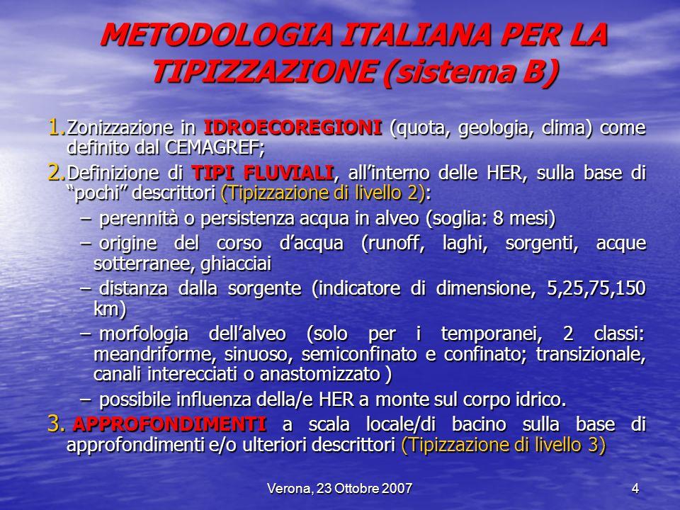 Verona, 23 Ottobre 20074 1. Zonizzazione in IDROECOREGIONI (quota, geologia, clima) come definito dal CEMAGREF; 2. Definizione di TIPI FLUVIALI, allin