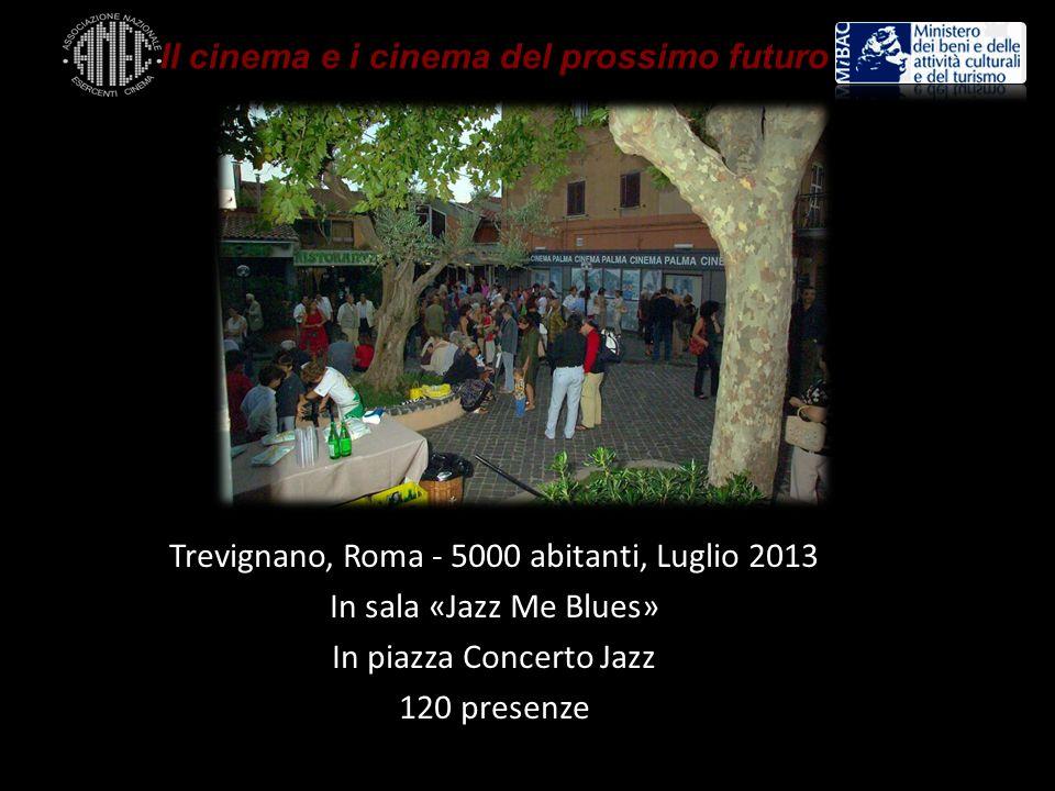 Trevignano, Roma - 5000 abitanti, Luglio 2013 In sala «Jazz Me Blues» In piazza Concerto Jazz 120 presenze Il cinema e i cinema del prossimo futuro