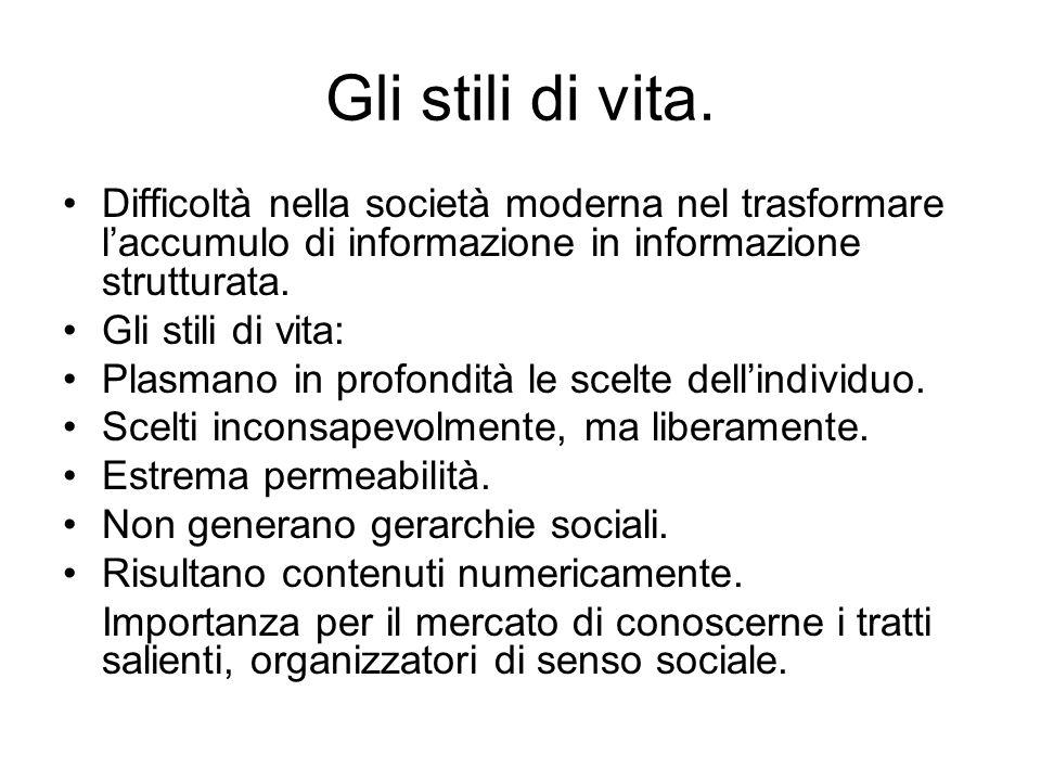 Gli stili di vita. Difficoltà nella società moderna nel trasformare laccumulo di informazione in informazione strutturata. Gli stili di vita: Plasmano