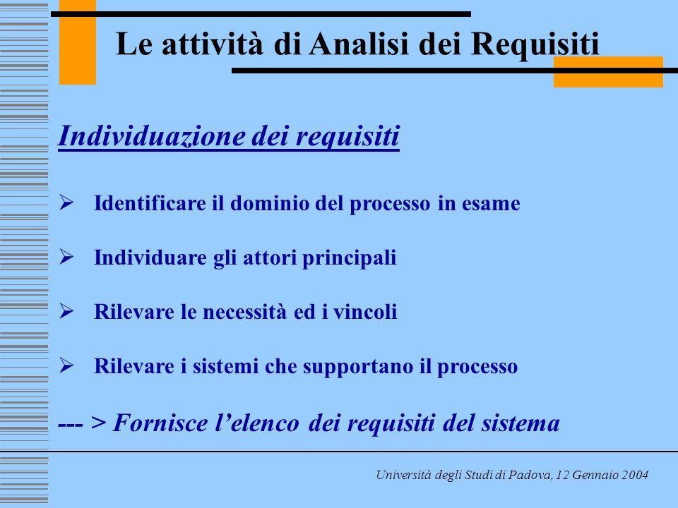 Le attività di Analisi dei Requisiti Università degli Studi di Padova, 12 Gennaio 2004 Individuazione dei requisiti Identificare il dominio del processo in esame Individuare gli attori principali Rilevare le necessità ed i vincoli Rilevare i sistemi che supportano il processo --- > Fornisce lelenco dei requisiti del sistema