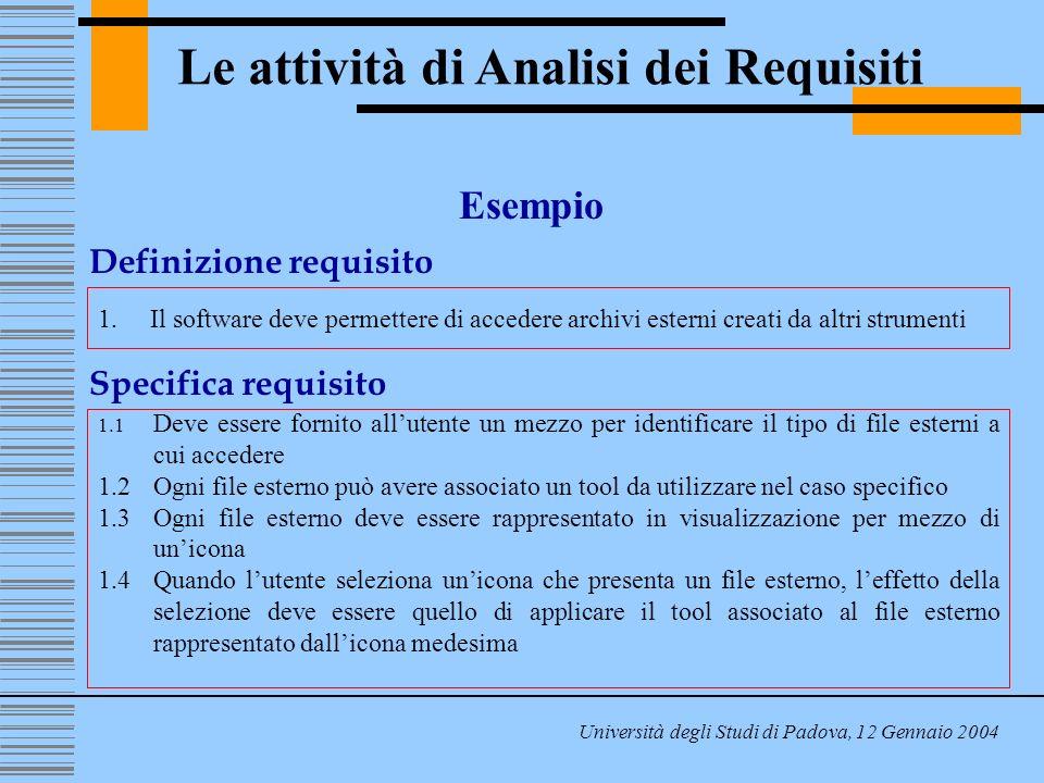 Le attività di Analisi dei Requisiti Università degli Studi di Padova, 12 Gennaio 2004 Esempio Definizione requisito 1.Il software deve permettere di accedere archivi esterni creati da altri strumenti Specifica requisito 1.1 Deve essere fornito allutente un mezzo per identificare il tipo di file esterni a cui accedere 1.2Ogni file esterno può avere associato un tool da utilizzare nel caso specifico 1.3Ogni file esterno deve essere rappresentato in visualizzazione per mezzo di unicona 1.4Quando lutente seleziona unicona che presenta un file esterno, leffetto della selezione deve essere quello di applicare il tool associato al file esterno rappresentato dallicona medesima