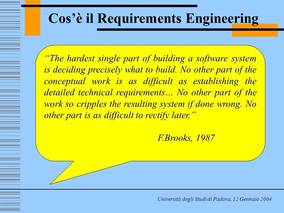 Cosè il Requirements Engineering Università degli Studi di Padova, 12 Gennaio 2004 Il costo di una generica modifica è più che proporzionale rispetto allo stato di avanzamento del progetto Costo della modifica Requir.