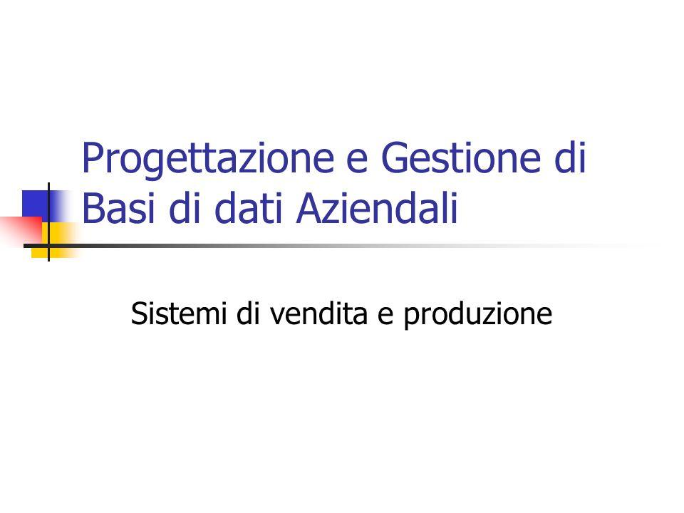 Progettazione e Gestione di Basi di dati Aziendali Sistemi di vendita e produzione